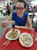 Fried Hokkien prawn mee with dumplings