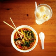 Noodle soup and lychee juice